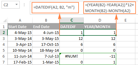 Excel DATEDIF - calculating date difference in days weeks ...