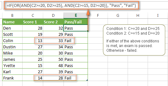 Using IF with OR & AND functions