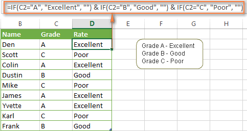 Using the CONCATENATE function instead of nested IF functions
