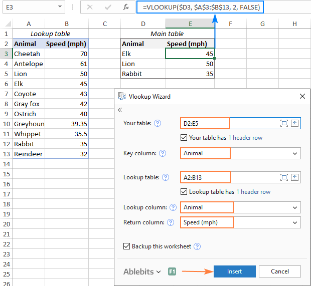 Excel VLOOKUP function for beginners with formula examples