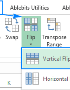 With any cell in your table selected go to the ablebits data tab   transform group and click flip vertical also how excel columns rows vertically horizontally rh