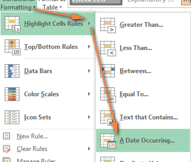 Excel Conditional Formatting Built In Rules For Dates