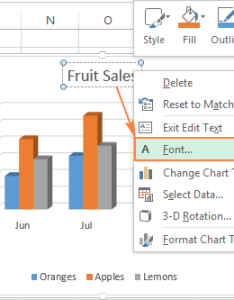 Changing font and formatting of the chart title also excel charts add customize axis legend data labels rh ablebits