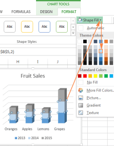 Changing the color of selected data series also excel charts add title customize chart axis legend and labels rh ablebits