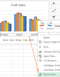 Right click on the horizontal axis and select format  in context also excel charts add title customize chart legend data labels rh ablebits