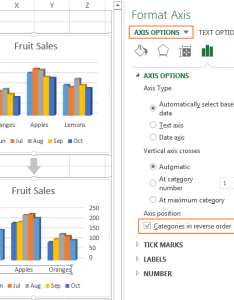 Select the categories in reverse order option to flip chart also excel charts add title customize axis legend and data labels rh ablebits