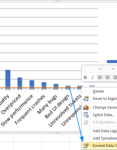 Right click the cumulative line and then format data series  also make pareto chart in excel rh ablebits