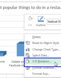 Right click on your chart and select the  rotation from menu also rotate charts in excel spin bar column pie line rh ablebits