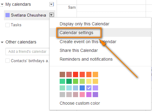 Hover the necessary civil list and click on the Calendar Settings agenda.