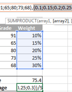 To see the actual values behind an array select it in formula bar and also how calculate weighted average excel sum sumproduct formulas rh ablebits