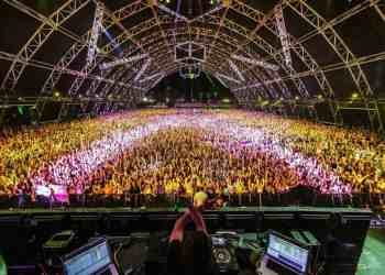 """A """"family photo"""" that's been traditionally taken by Bassnectar during festivals."""