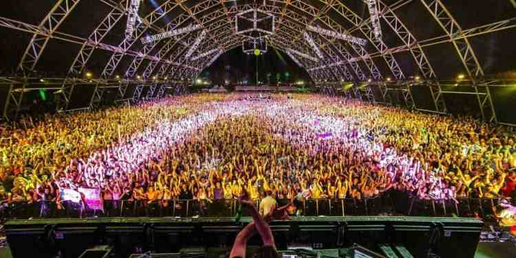 "A ""family photo"" that's been traditionally taken by Bassnectar during festivals."