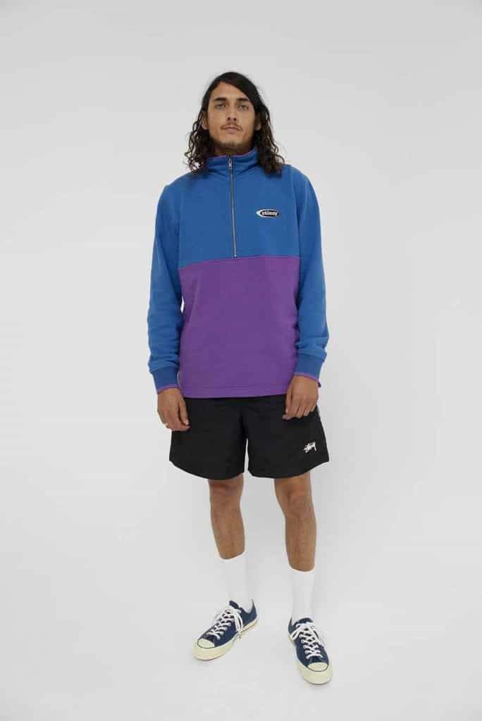 This two-toned mock neck from Stussy gives us that retro vibe