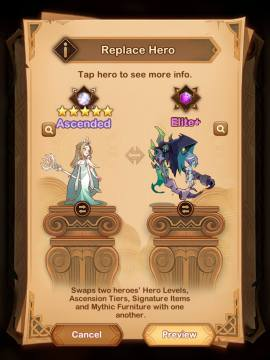 how to replace hero with swap scroll in afk arena