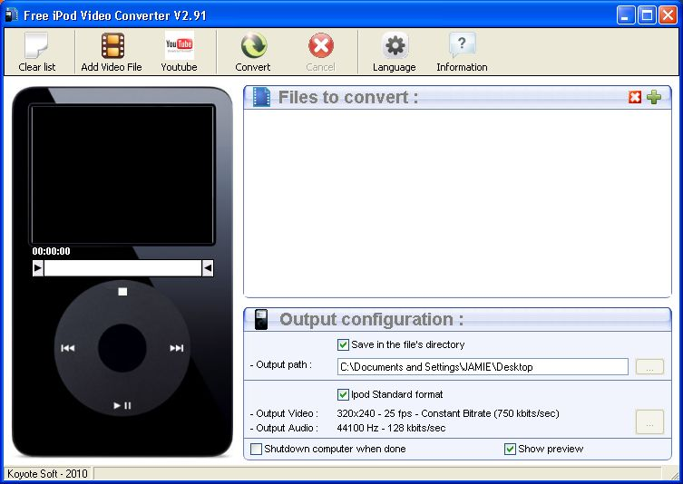 Download Koyote Free iPod Video Converter v2.91 (freeware) - AfterDawn: Software downloads