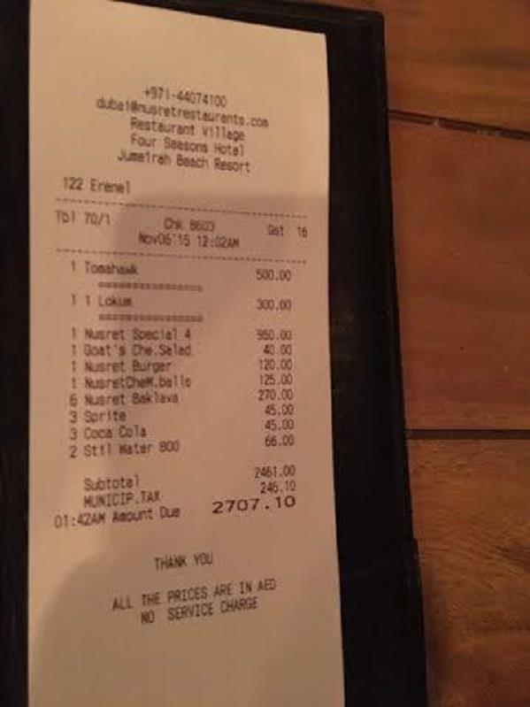 بالصور.. بدر الراجحي يكشف تلاعب مطعم شهير في دبي بالفواتير