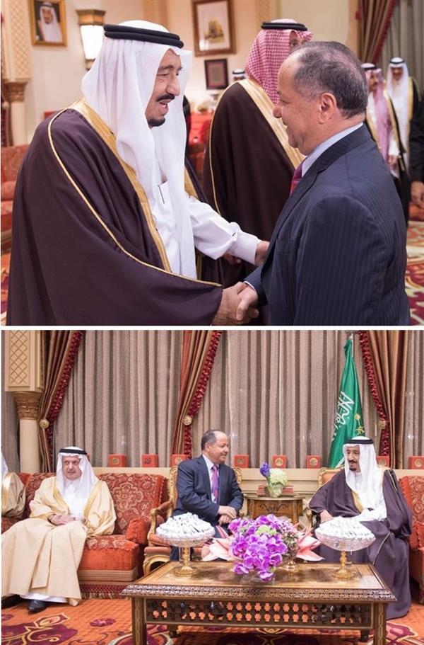 خادم الحرمين الشريفين الملك سلمان بن عبدالعزيز يستقبل في قصره بالرياض رئيس إقليم كردستان العراق مسعود بارازاني،
