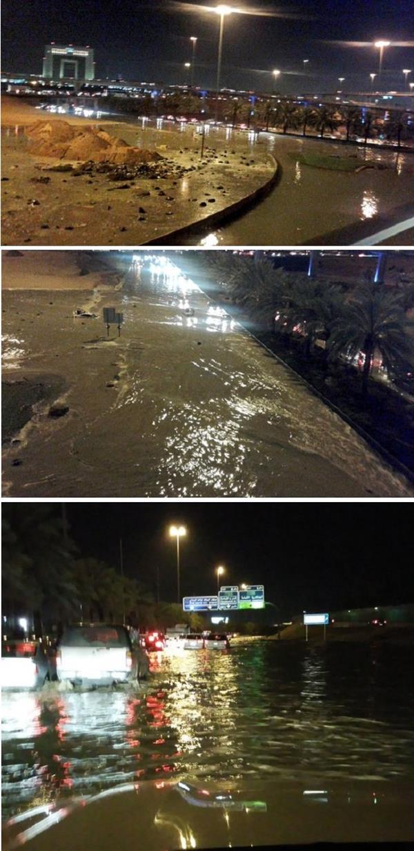 الأمطار تُغرق عدة طرق في الرياض.. والدفاع المدني: لا إصابات