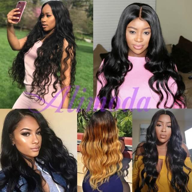 ali moda brazilian body wave hair 3 bundles with frontal 100% virgin human hair
