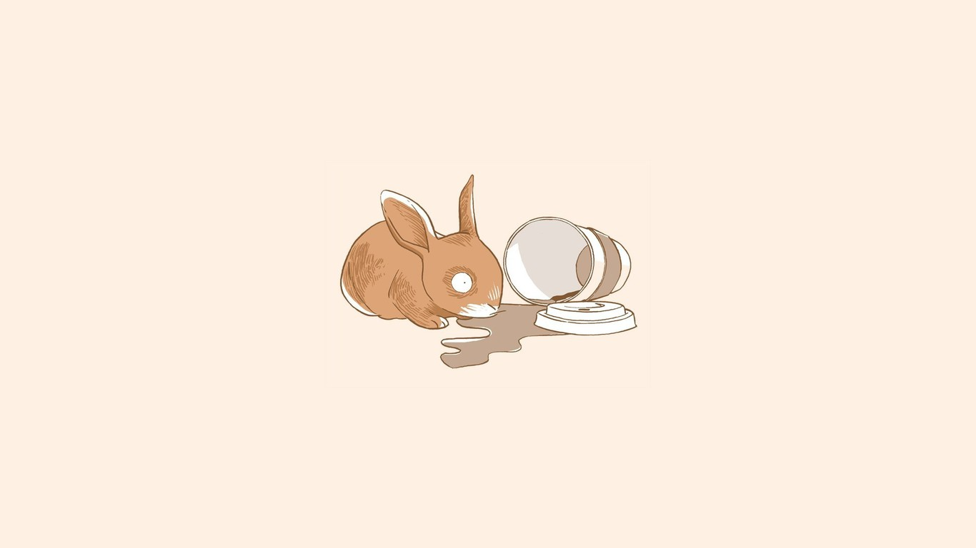 Simple Girl Wallpaper Pc Abstract Bunnies Coffee Simple Simplistic Wallpaper