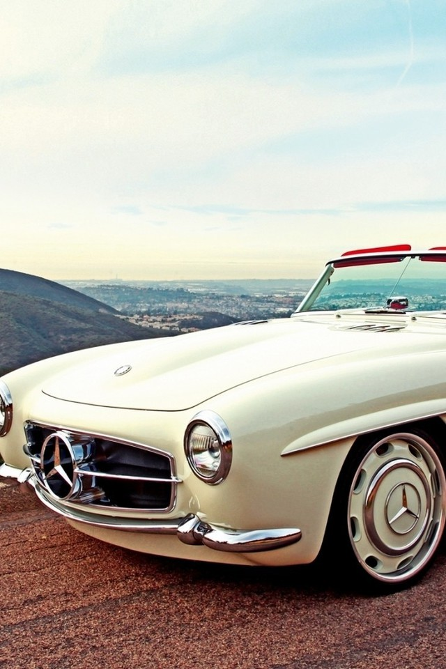 Hd Car Cell Phone Wallpaper Landscapes Cars Roads White Classic Mercedes Benz