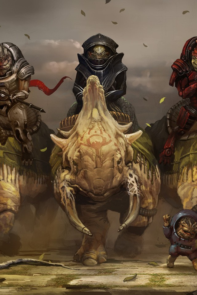 Google Wallpaper Iphone Art Grunt Artwork 3 Krogan Riding Wrex Wallpaper