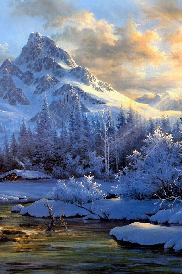 Wallpaper Hd 1920x1080 Fall Paintings Mountains Landscapes Winter Snow Artwork
