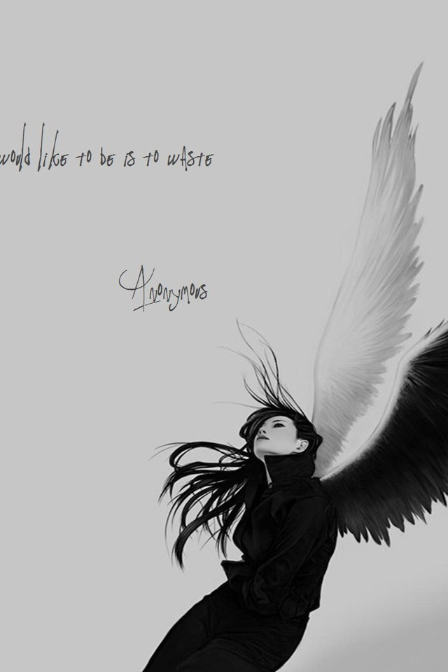 Sad Quotes Wallpapers For Iphone Anonymous Angels Monochrome Quotes Sad Wallpaper