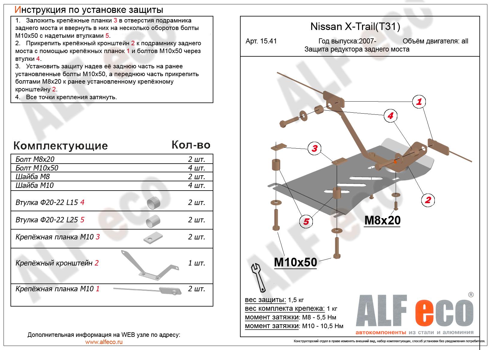 Защита картера двигателя Nissan Qashqai II 2013-2020