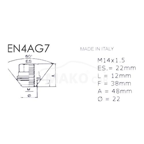 SICUSTAR EN4AG7 (EN415CR) pojistné matice M14x1,5 plochá s