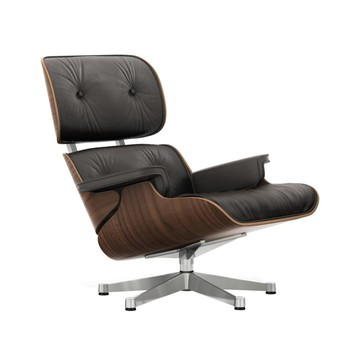 black eames chair faux cowhide vitra lounge ambientedirect leather premium brown shell walnut