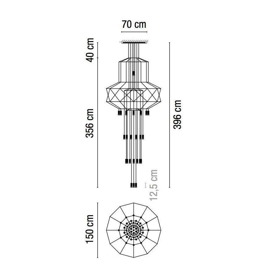 hight resolution of vibia wireflow chandelier 0375 led suspension lamp line drawing