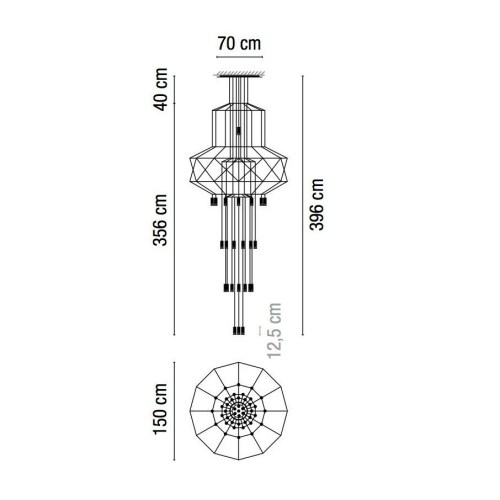 small resolution of vibia wireflow chandelier 0375 led suspension lamp line drawing