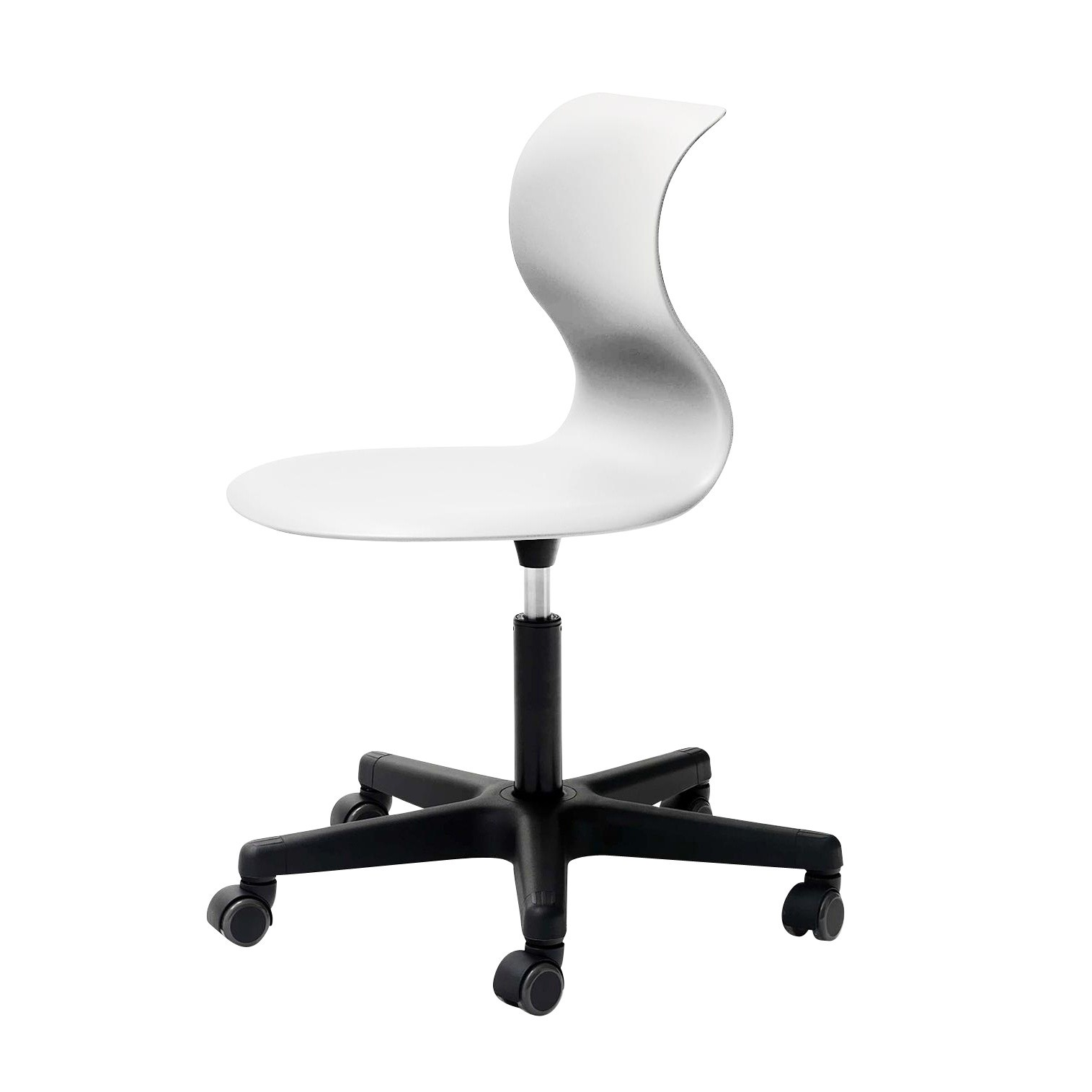 chair with wheels desk footrest recliner flototto pro 6 swivel ambientedirect white frame black polyamide seat