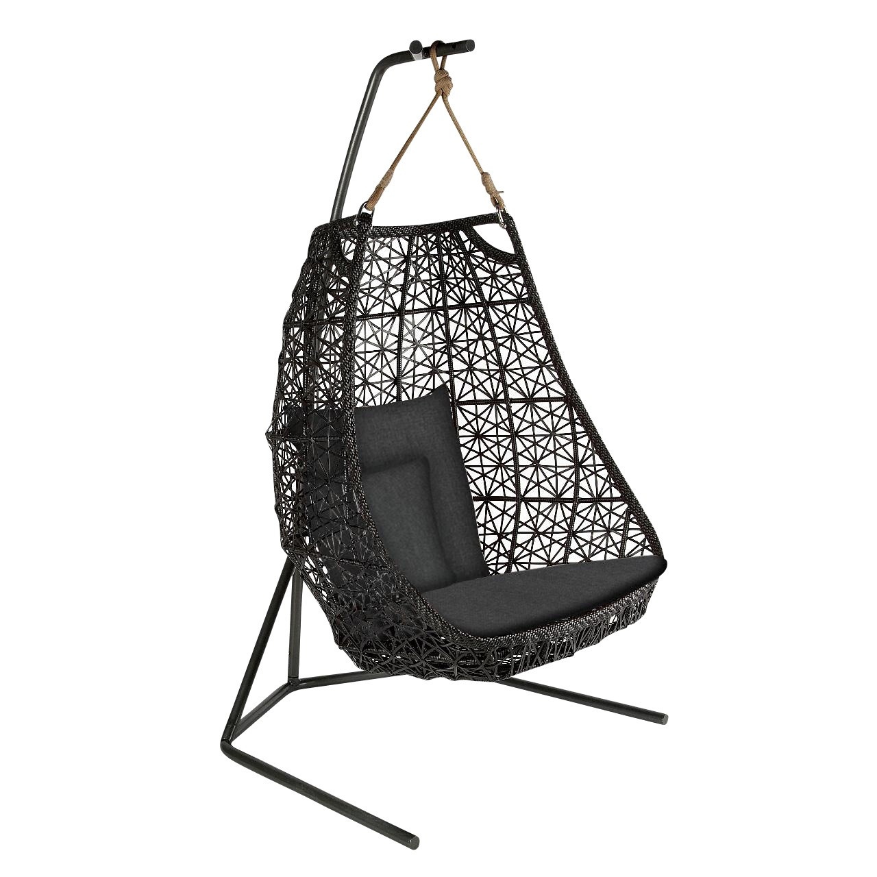 hanging chair egg best power recliner chairs canada kettal maia swing ambientedirect black chestnut brown cushion
