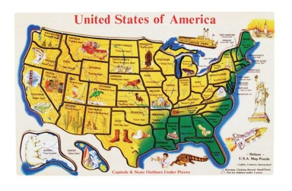 USA Map Wooden Jigsaw Puzzle A Mighty Girl