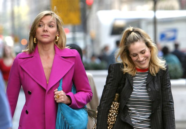 Kim Cattrall and Sarah Jessica on site for