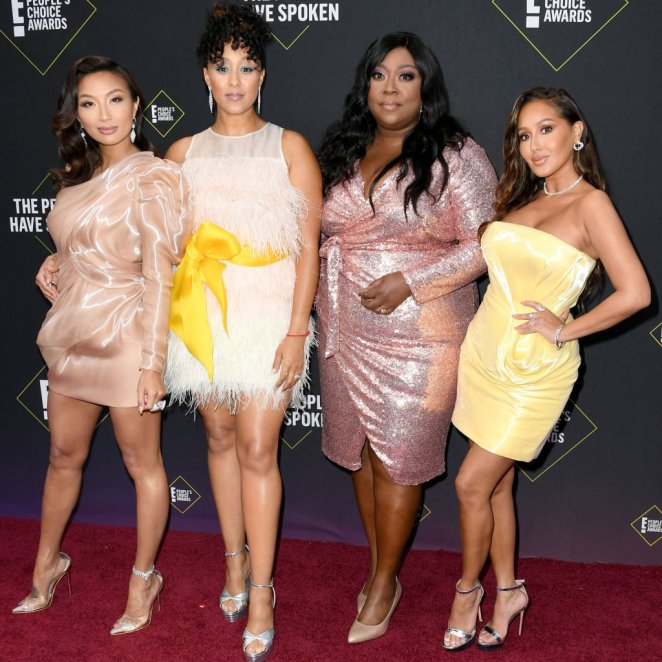 Jeannie Mai, Tamera Mowry-Housley, Loni Love and Adrienne Houghton arrive on the red carpet at E! People's Choice Awards on November 10, 2019, in Santa Monica, California | Source: Getty Images (Photo by Jon Kopaloff/FilmMagic)
