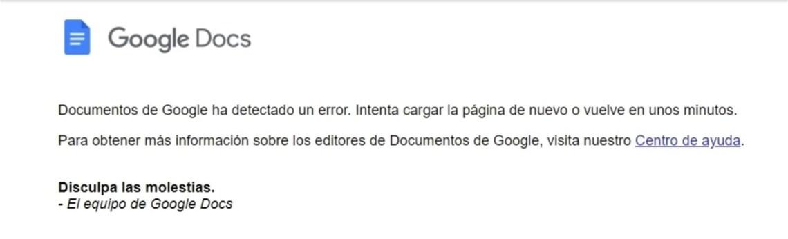 Error en Google Docs
