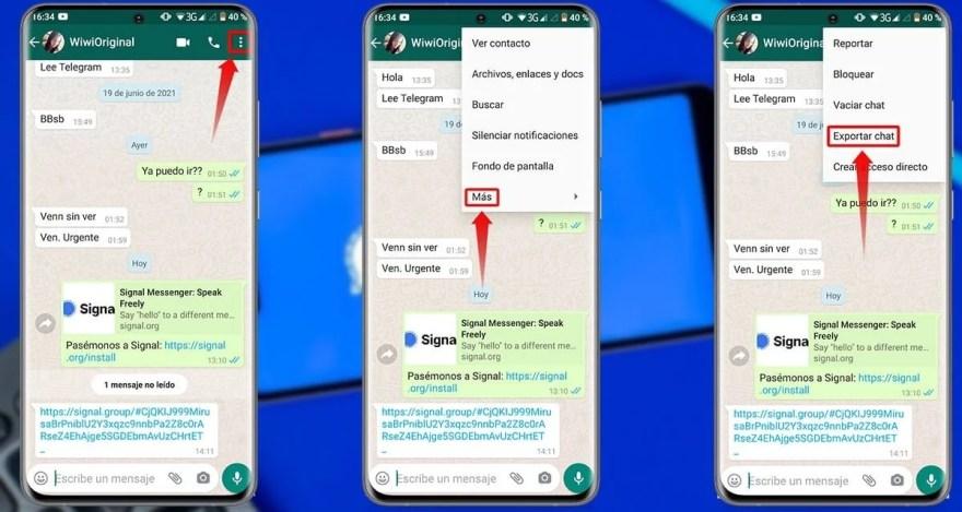 Pasos para pasar todos tus chats de WhatsApp a Signal