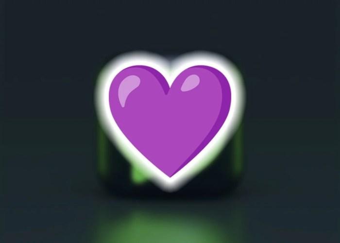 Emoji de corazón de color violeta