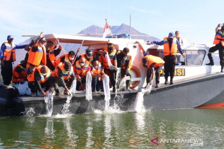 Bupati Bangli tebar 150.000 benih ikan nila di Danau Batur