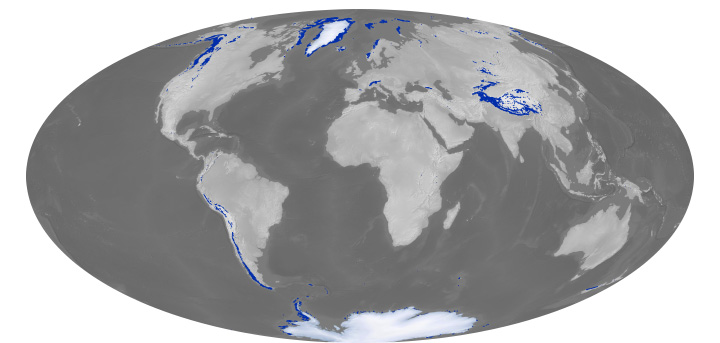 The Randolph Glacier Inventory is a compilation of all the World's glaciers. It is the first global catalogue of glaciers, and it was developed to help IPCC scientists improve estimates of sea level rise. Image from NASA Earth Observatory.