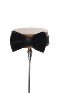 Velvet black grooms wedding bow tie