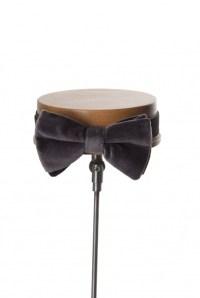 Velvet grey grooms wedding bow tie