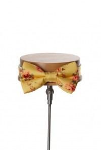 Tea rose yellow grooms wedding bow tie