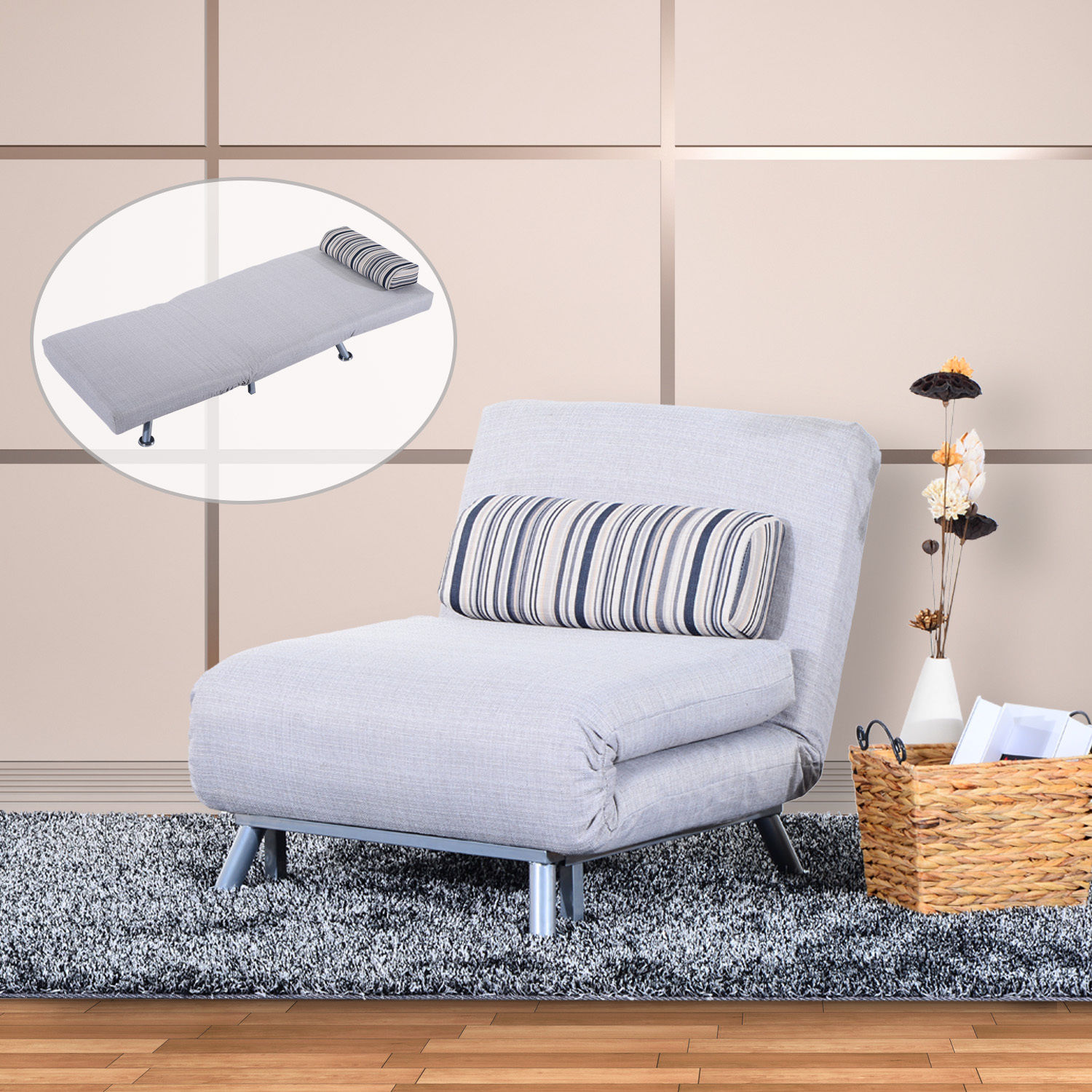 living room lounge chair canada overhead lighting cad 329 99 homcom convertible single sofa bed sleeper recliner fold out couch with 5 adjustable position and pillow grey dorm guest