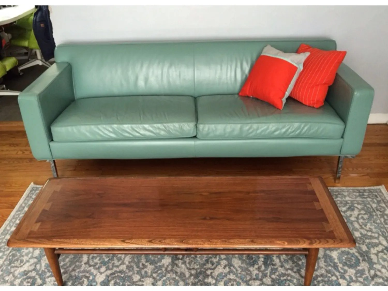 dwr theatre sofa review grey covers uk leather in powder blue apartment therapy s bazaar