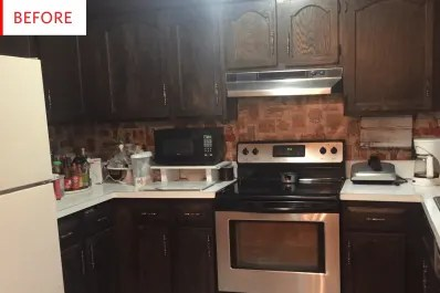 kitchen facelift rustic hickory cabinets 1k budget home remodeling apartment therapy