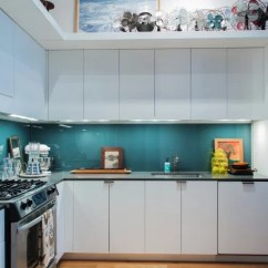 Glass Kitchen Backsplash How Much Does A Remodel Cost Ideas Tile Alternative Apartment Therapy Back Painted Panels Add Pop Of Teal To This Loft In New Jersey